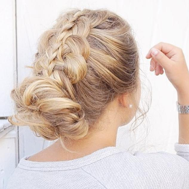 Stacked braid and messy bun