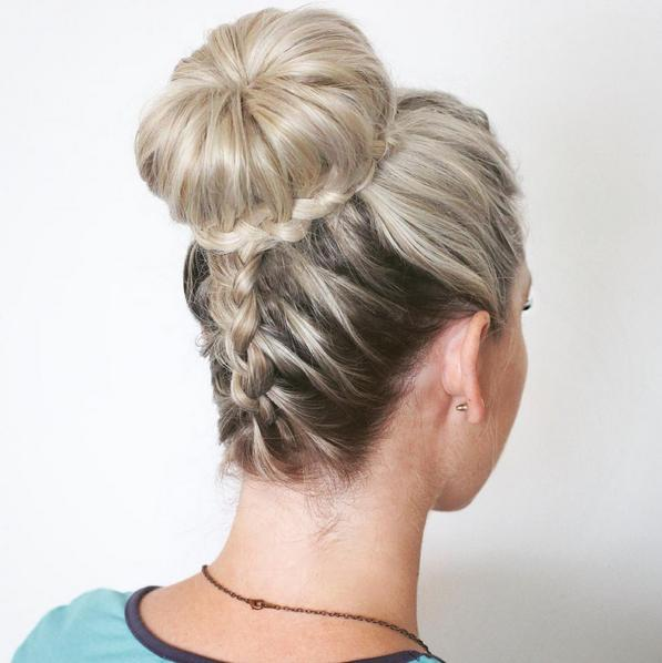 Upside Down Dutch Braid into a Braided Bun