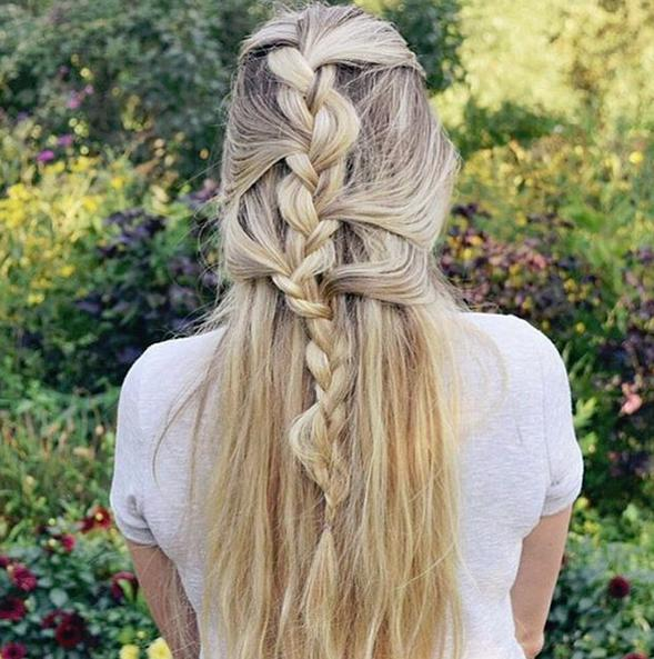half up braided look