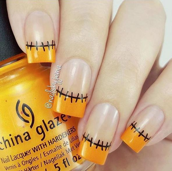 halloween french tip nails