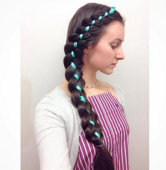 4 strand braid with blue ribbon