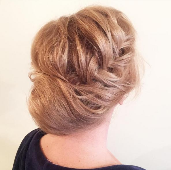 braided into low bun