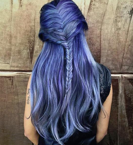 half up braided lavender hair
