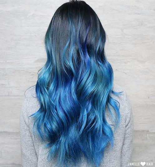 beautiful blue hair
